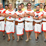 August 14, 2014, la Xaranga Visita a les capitanies during the Moors and Christians (Moros y Cristianos) Festival in Denia, Alicante, Spain
