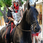 August 15, 2014, Gala Parade of all the Filas (Associations) during the Moors and Christians (Moros y Cristianos) Festival in Denia, Alicante, Spain