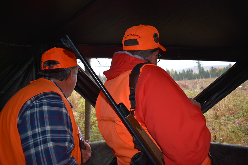 Chris Lander (left) of Orrington and BDN Outdoors Editor John Holyoke survey a clearcut in search of a bull moose while participating in last week's hunt in Somerset County. (Pete Warner | BDN)