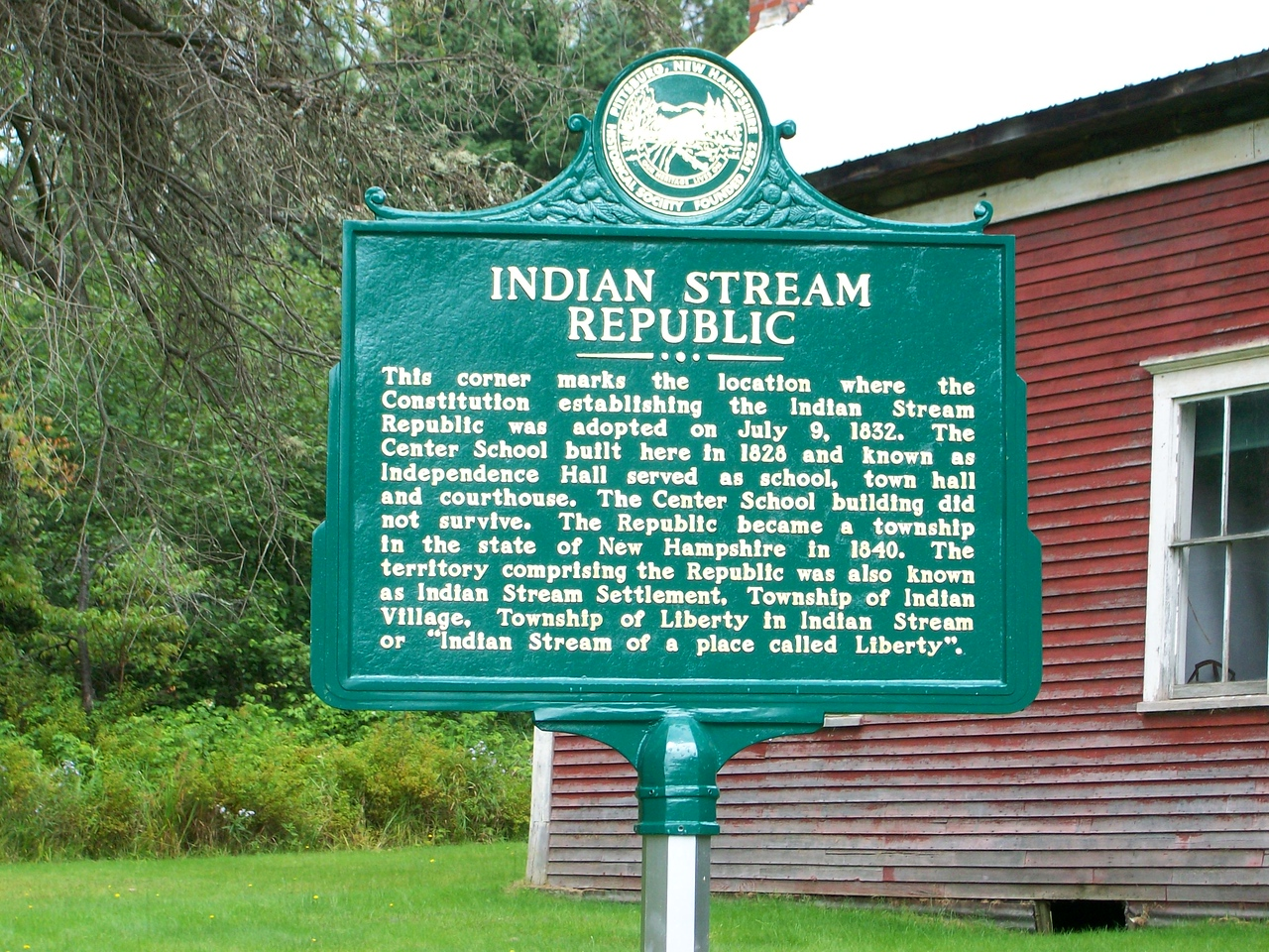 Indian Stream Republic historical sign