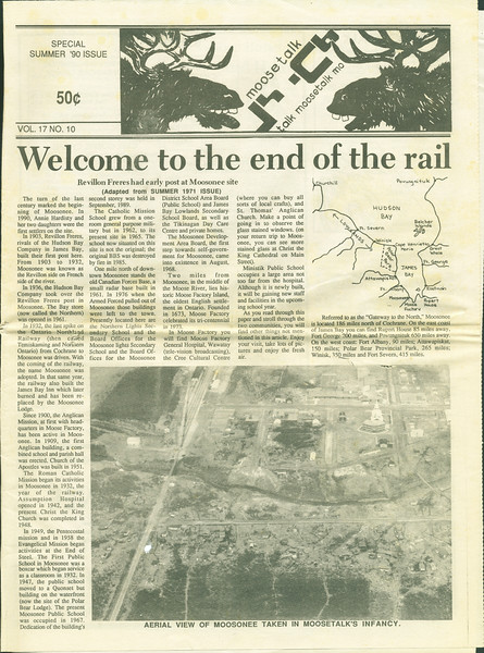 Moosetalk 1990 Summer. Page 1. Welcome to the end of the rail.