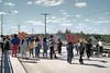 September 1990 demonstration in Moosonee in support of people of Kanesatake (Oka Crisis):  supporters on the bridge across Store Creek (Atim Road)