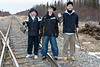 James Iserhoff, Brad Hurtubise and Donald Wesley with the catch of the day they got up Tacan Road in Moosonee.