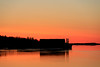 Barges down the river before sunrise.