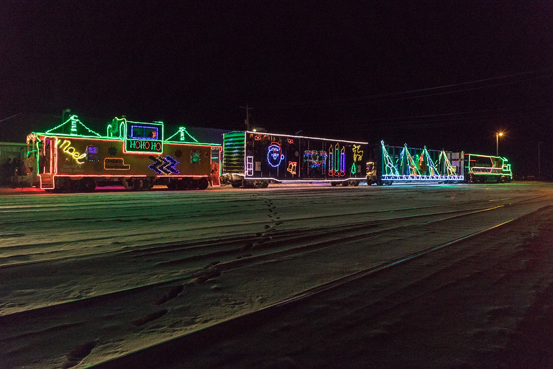 Christmas train at Moosonee station. AUTO.