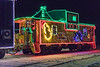 Santa on the Christmas train caboose. AUTO correction