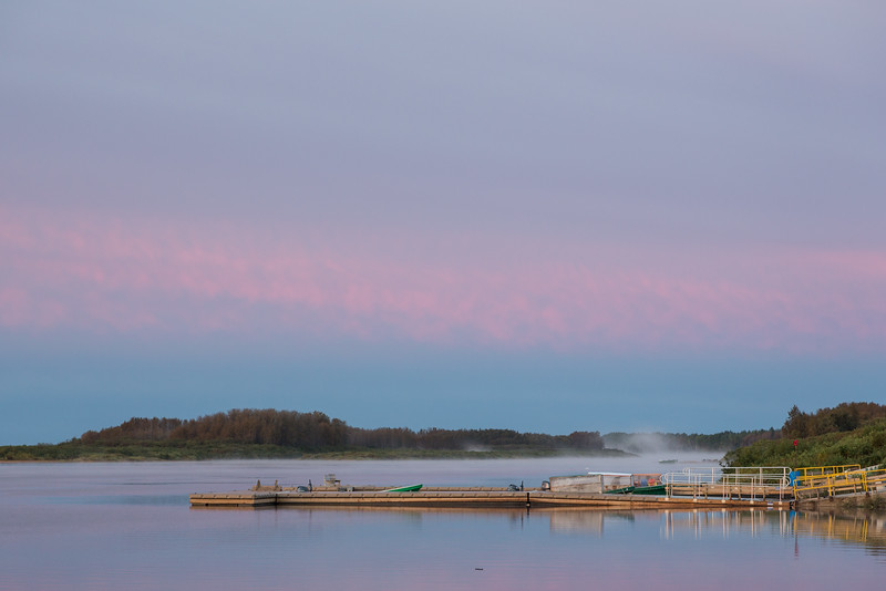 Looking up the Moose River towards public docks. A bit of fog up the river.