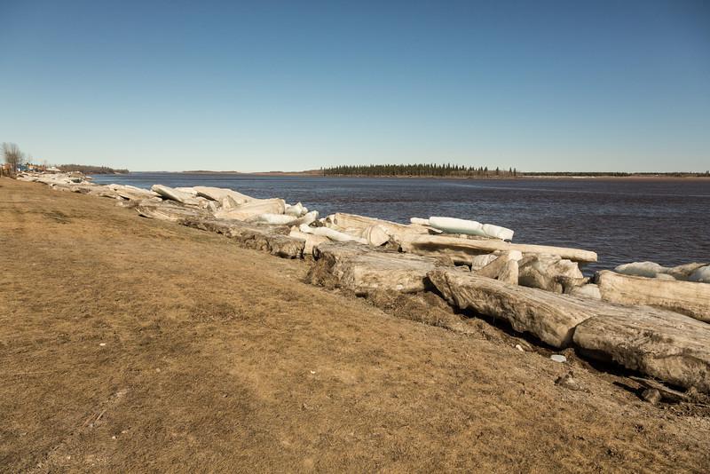 Moosonee: looking down the Moose River. Lots of shore ice.