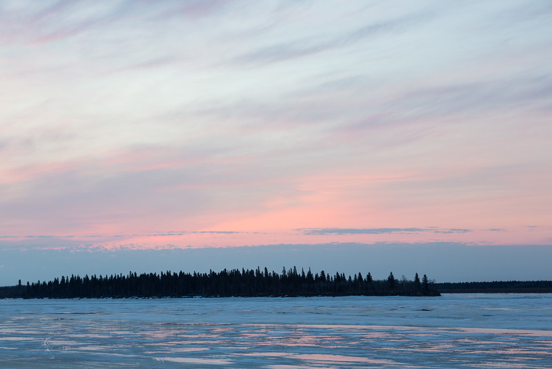 View across the Moose River towards Butler Island before sunrise.
