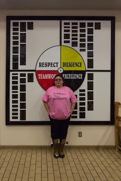 Erasing bullying presentation at Northern Lights Secondary School in Moosonee.  Pauline Sackaney, school board member. #pinkshirtday