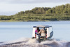Shane Enosse heads to Moose Factory in his taxi boat.