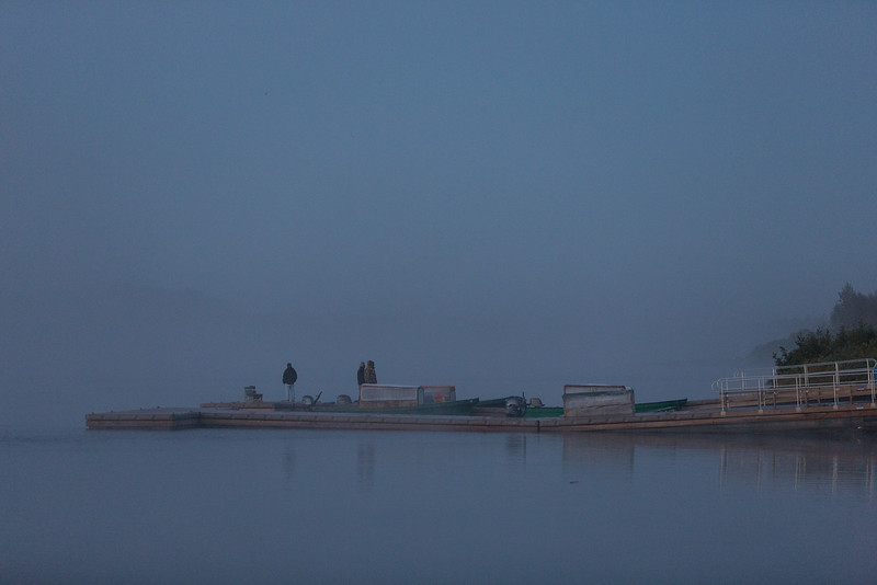 Moosonee public docks on a foggy morning.