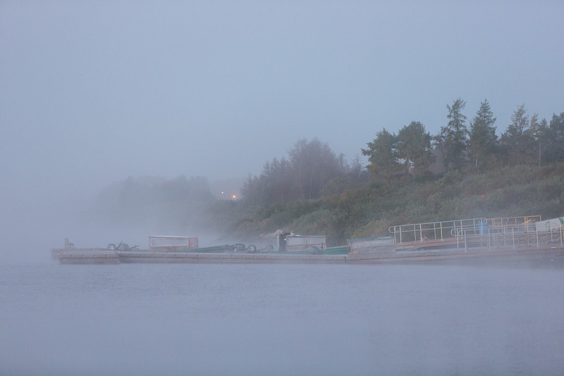 Public docks in Moosonee on a foggy morning.