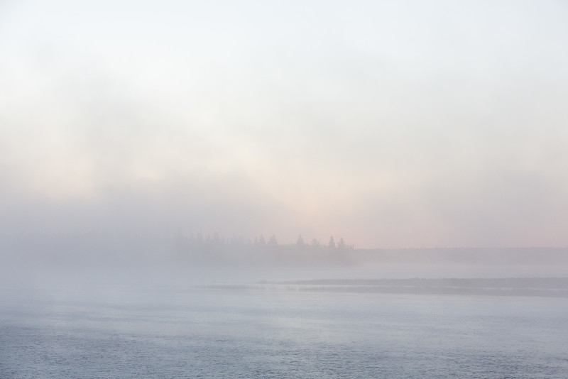 Fog rolls in in front of Butler Island before sunrise.