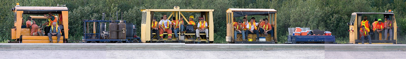 Maintenance of way employees in railcars at Moosonee Station 2006 July 23rd. Composite