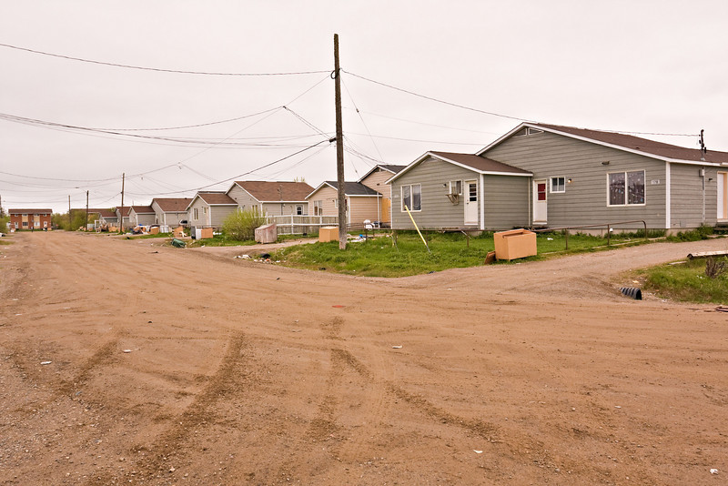 Moose Drive (Eastern side) from its southern intersection with Wavey Crescent in Moosonee, Ontario