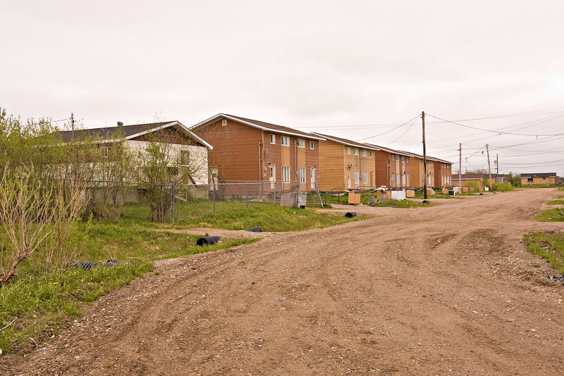 Wavey Crescent from unfinished portion looking to the street's northern intersection with Ferguson Road South in Moosonee, Ontario