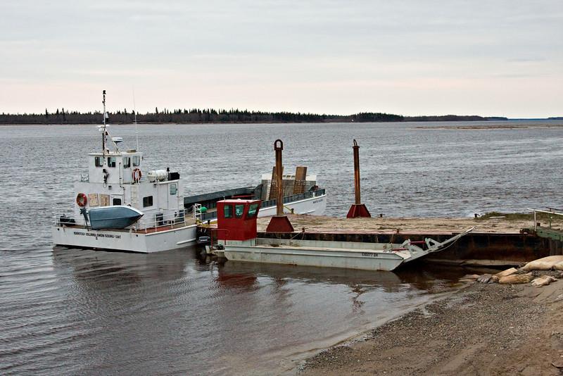 Local barges for transport between Moosonee and Moose Factory on the Moose River in Moosonee