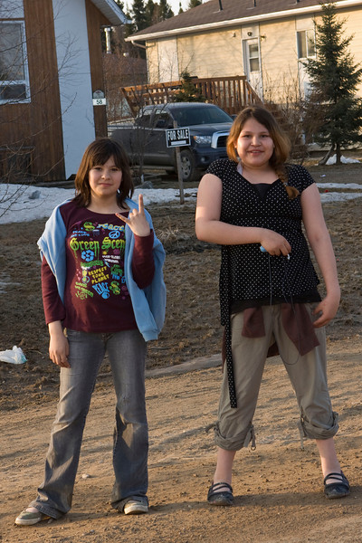 Two girls on Bay Road in Moosonee