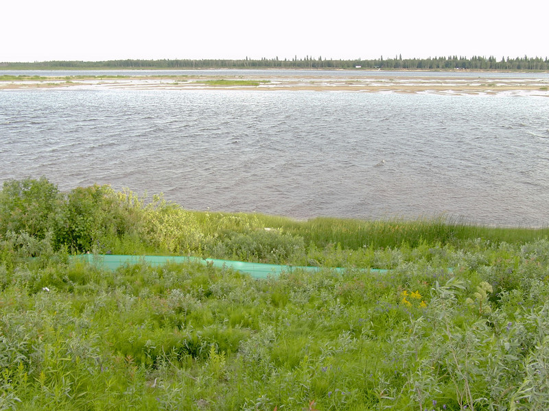 Moosonee Shoreline Stabilization-fabic along the river edge.