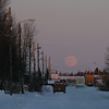 Moon rise looking down Revillon Road North in Moosonee 2008 Dec 12