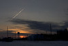Sunset 2008 December 14 in Moosonee with contrail visible in sky