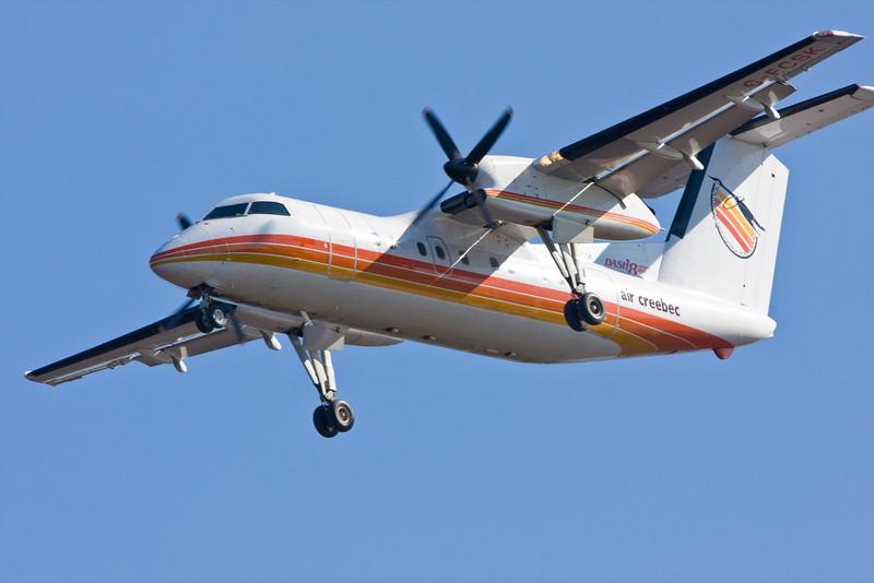 Air Creebec Dash 8 C-CFSK on approach to Moosonee.