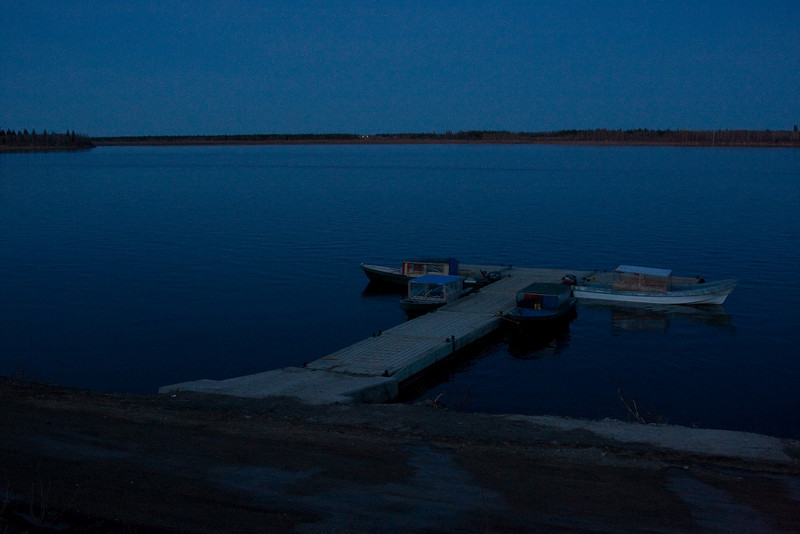 Moosonee public docks after sunset 2008 May 24th.