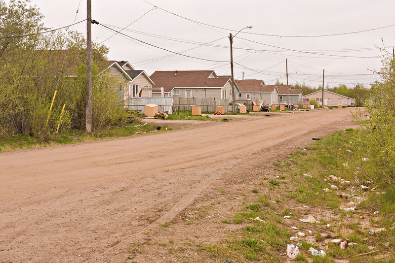 Moose Drive looking from its northern intersection with Wavey Crescent in Moosonee, Ontario