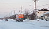 2008 December 16 truck heads down Bay Road in Moosonee.