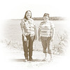 Rachel Chakasim and Pauline Sackaney along the river bank in Moosonee.