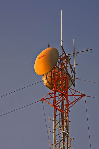 Top of communications tower in Moosonee just before sunset.