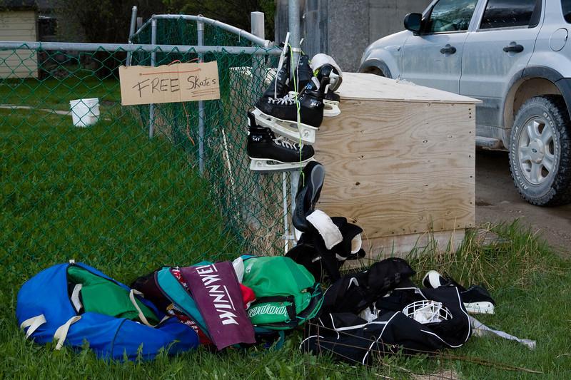 Hockey equipment for the taking on Butcher Street in Moosonee