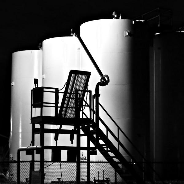 Storage tanks in Moosonee at night
