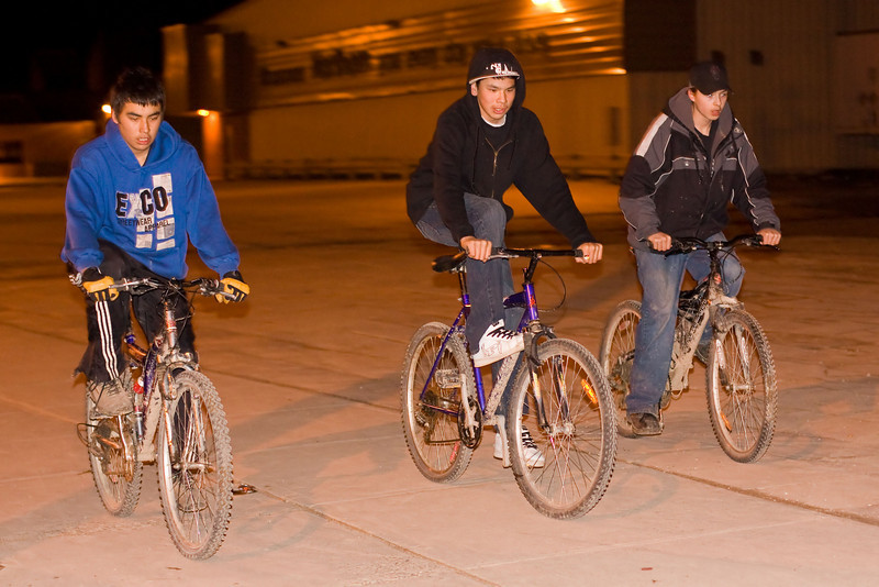 Cyclists at night