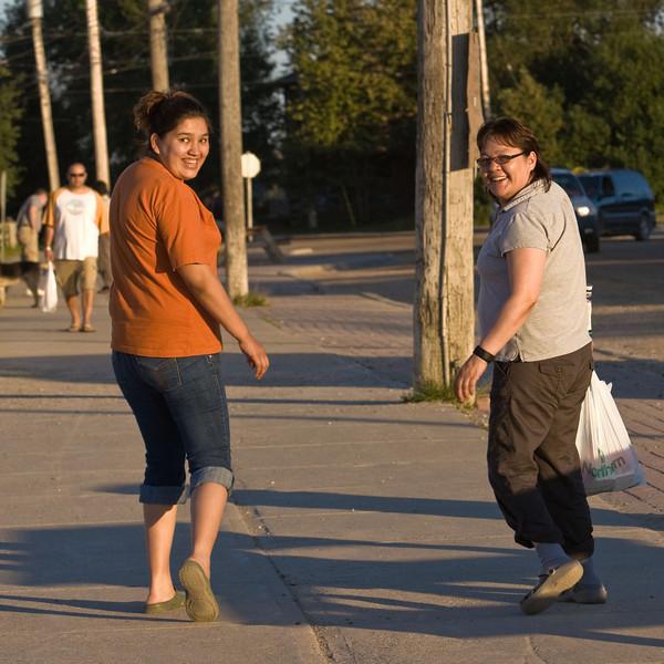 Amanda and Elizabeth on First Street in Moosonee