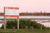Port of Moosonee Improvements sign just before sunset