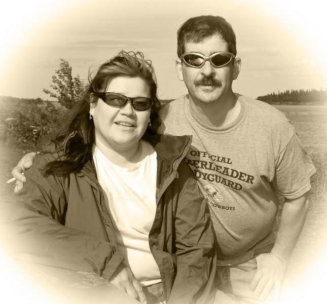 Bertha Linklater and John Ploughman along the river bank in Moosonee, Ontario
