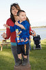 Shayna Isaac with her nephew Lashaun Enosse above the boat docks in Moosonee.