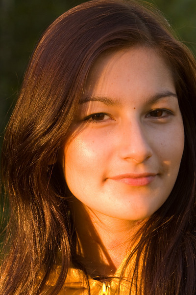 Portrait of a young woman just before sunset in Moosonee.