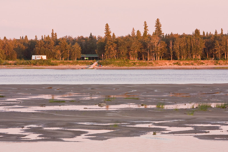 Looking across the Moose River sandbar towards Charles Island (Tidewater Park) from Moosonee