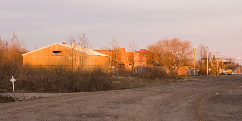 View down Second Street from train tracks in Moosonee.