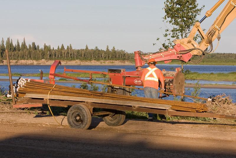Soil nailing along the Moose River in Moosonee, Ontario