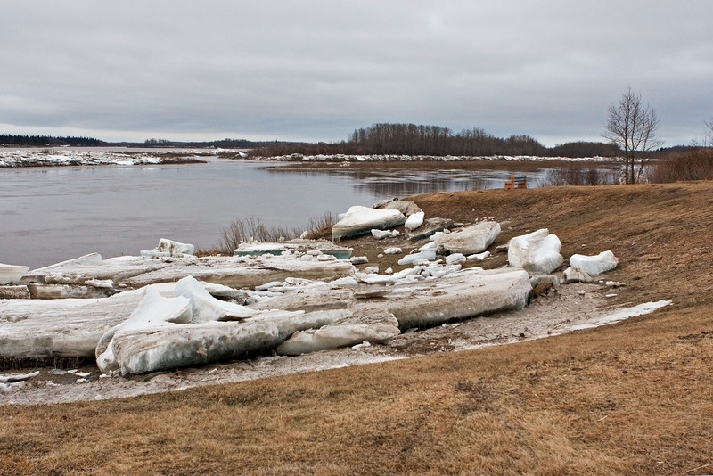 Stranded ice at McCauley's Hill in Moosonee