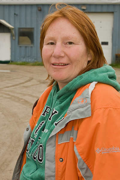 Phemi Linklater in front of Moosonee Firehall