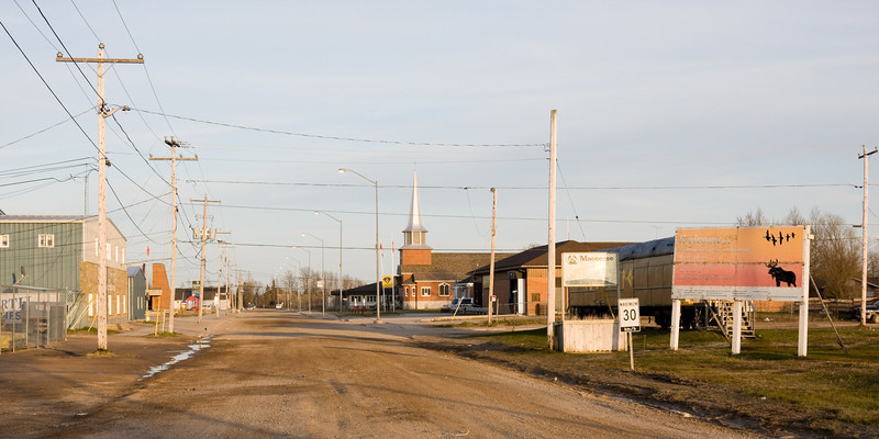 Looking down First Street in Moosonee from train station.
