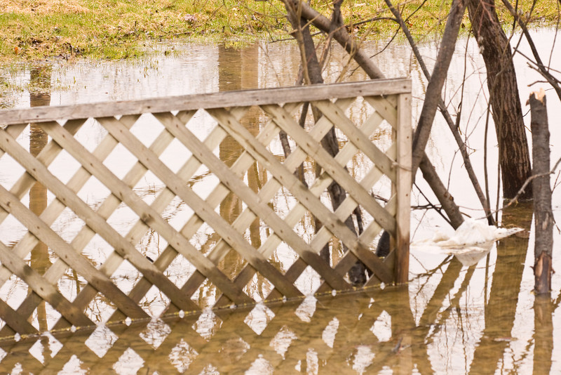 Fence in a puddle after spring rain