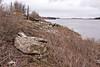 Ice along the shoreline of the Moose River in Moosonee, Ontario looking towards Two Bay docks