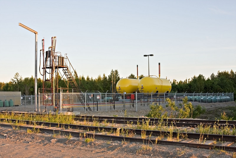 Newly constructed propane facility along tracks at Moosonee airport