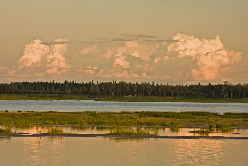 Looking across the Moose River from Moosonee to Charles Island